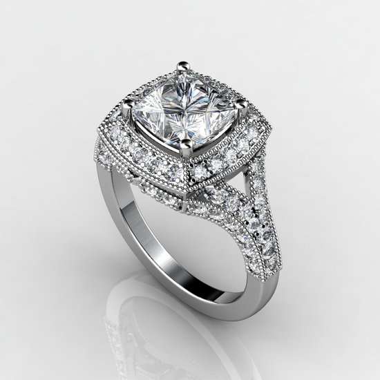 2ct halo white gold engagement ring