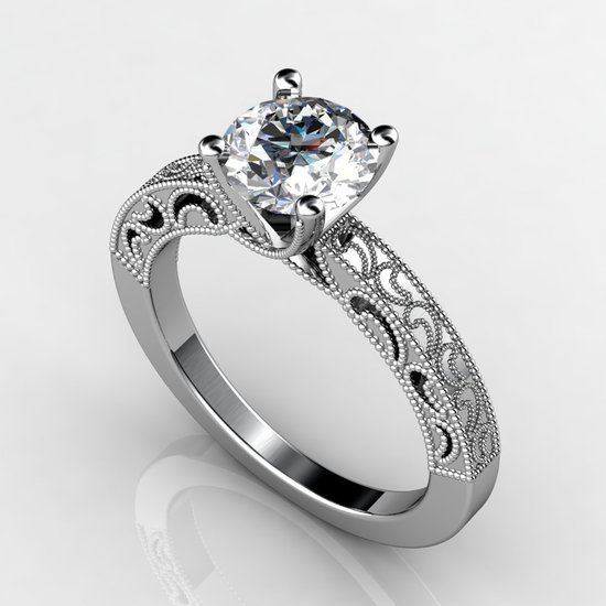 custom white gold engagement ring 1.75 ct