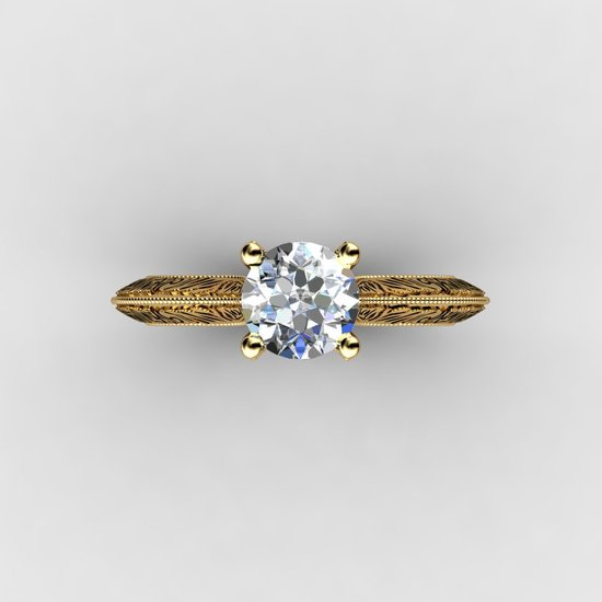 custom yellow gold engagement ring 1.5 ct top