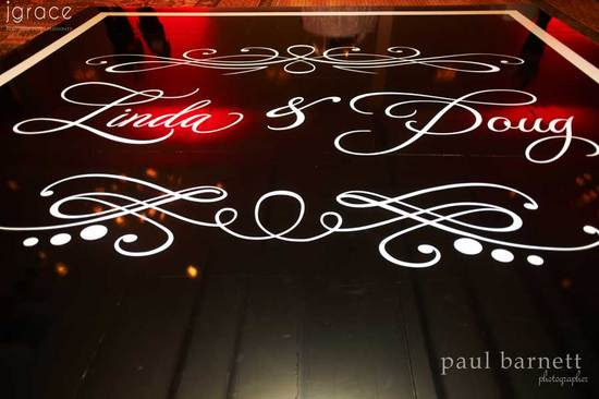 Custom wedding monogram on reception dance floor