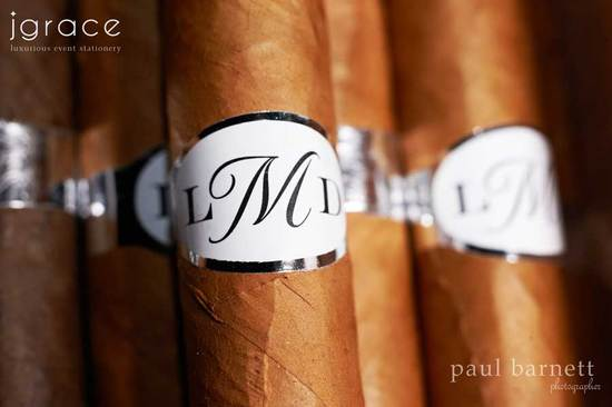 Custom wedding favors with monogram cigars
