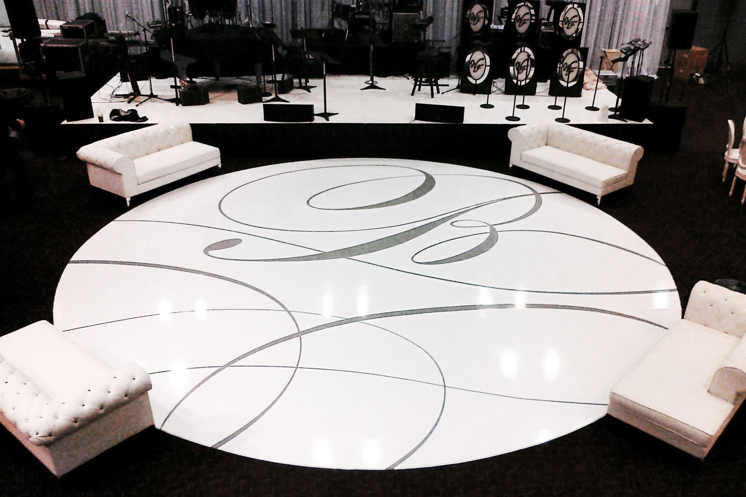 Custom wedding dance floor with monogram for 1234 dance floor