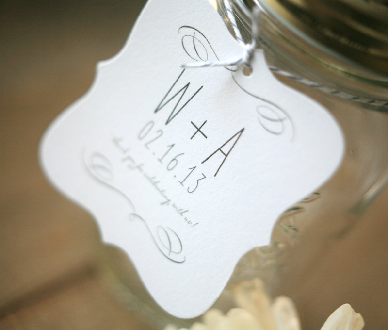 Wedding Favor Tags With Photo : Simple wedding favor tags with custom monogram OneWed.com