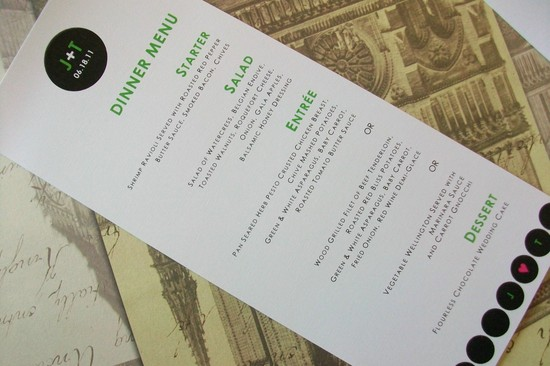 Modern wedding reception menu with custom monogram