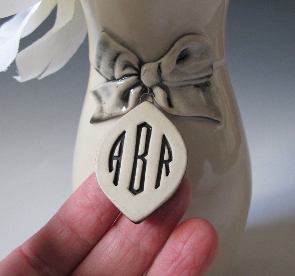 Custom monogram vases for wedding reception