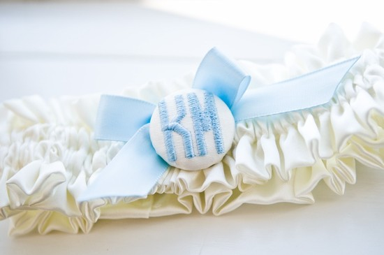 Something blue bridal garter with custom monogram