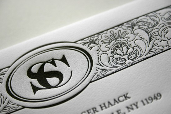 Custom letterpress wedding invitations with monogram