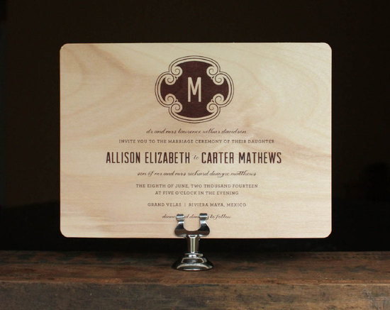Rustic wood wedding invitation with custom monogram
