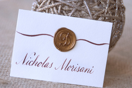 Wax seal monogram escort cards