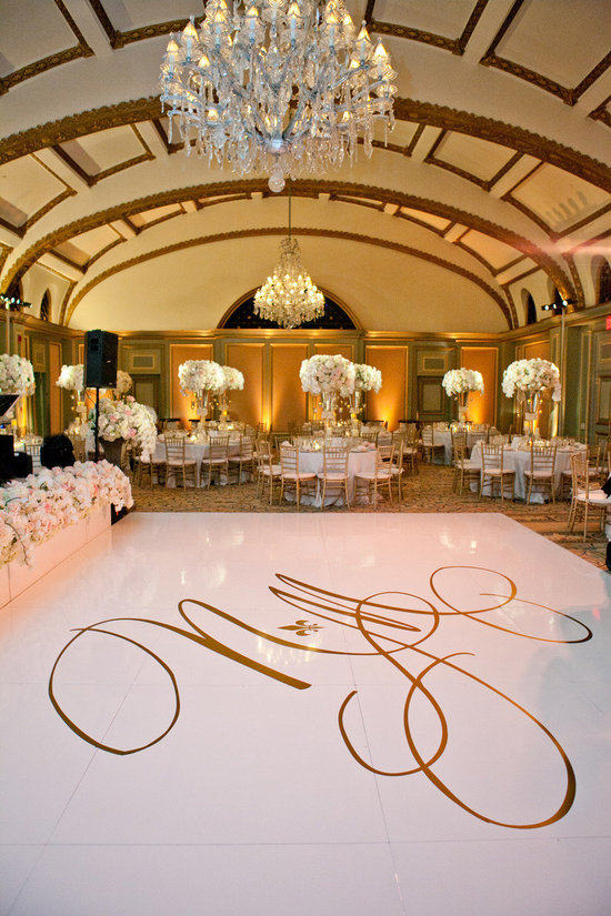 wedding monogram displayed on dance floor
