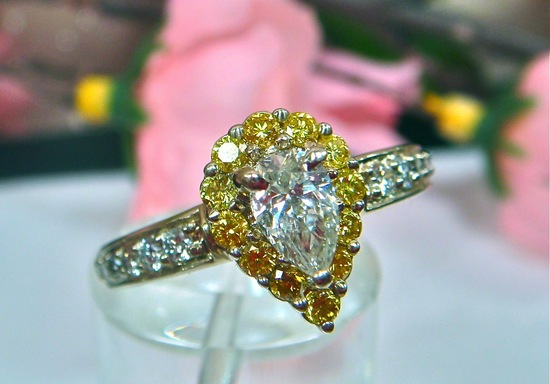 Vintage canary diamond engagement ring