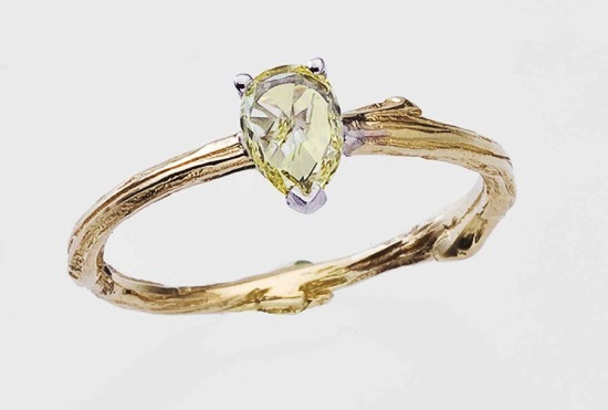 Rose cut yellow diamond engagement ring