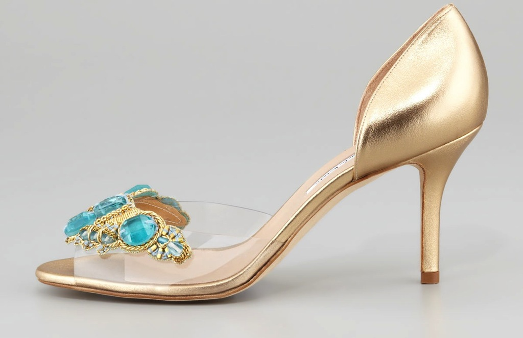 Oscar de la renta wedding shoes gold with turquoise and sheer