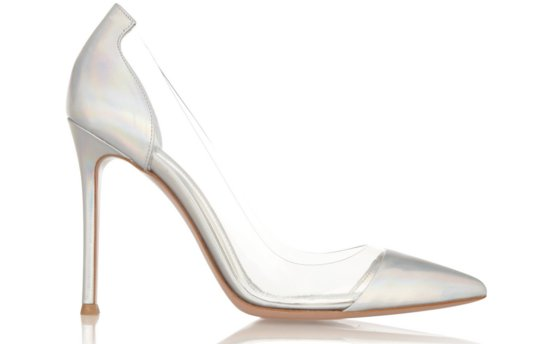 Glass slipper wedding shoes pointy