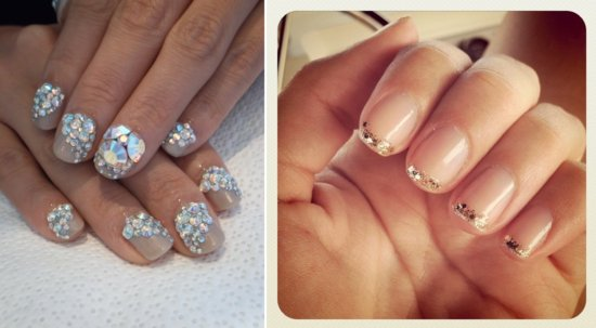 Glittery wedding nails DIY manicures