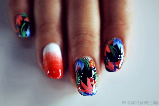 Funky floral print wedding nails