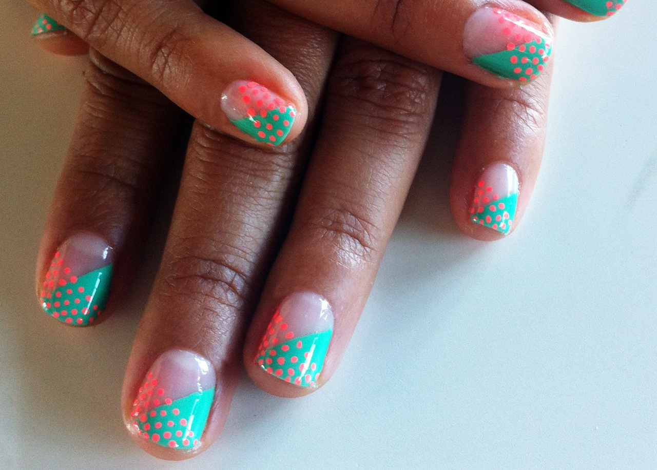 Teal And Pink Unique Wedding Nails