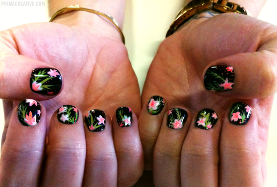 Black pink and green floral print wedding nails