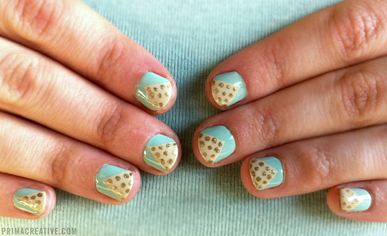Gold cream pastel aqua wedding nails