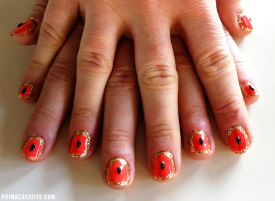Coral black and gold wedding nails