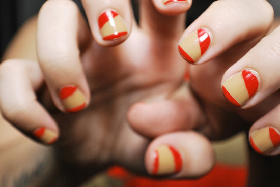 Red and butterscotch wedding nails