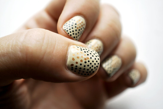 photo of Cream with gold polka dots wedding nails