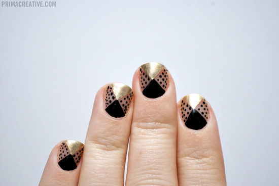 Gold clear black wedding nails