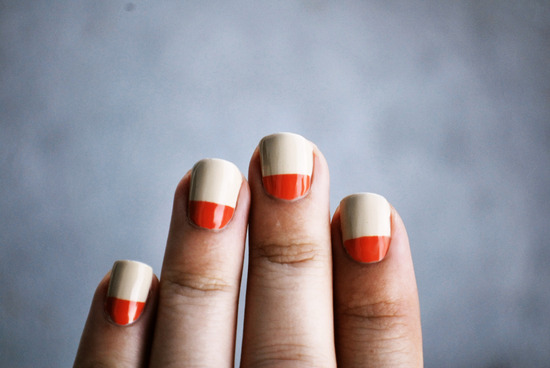 Beige and red color blocked wedding nails