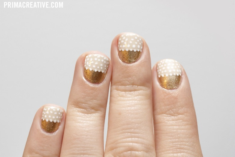 Beige-white-gold-wedding-nails-with-polka-dots.full