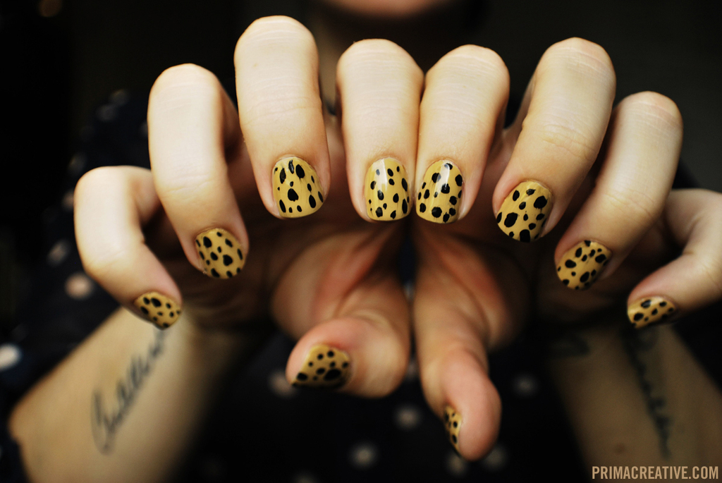 Butterscotch and black leopard wedding nails
