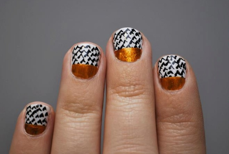Copper-black-and-white-wedding-nails.full