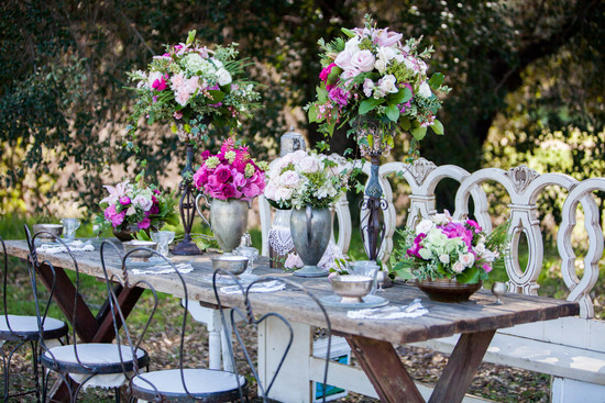 Romantic vintage wedding tablescape pink blush centerpieces