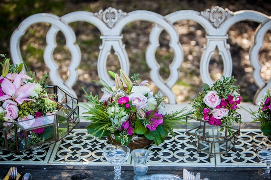 Vintage rustic wedding reception tables outdoor venue