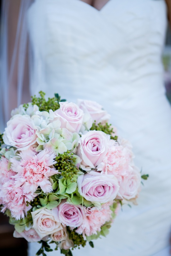 Romantic wedding bouquet with light pink roses celery green hydgrangeas