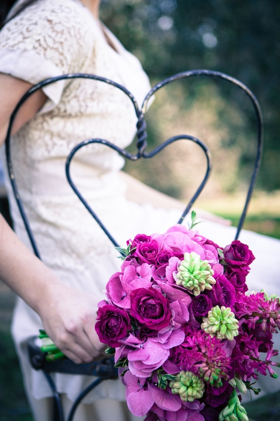 Deep fuschia bridal bouquet