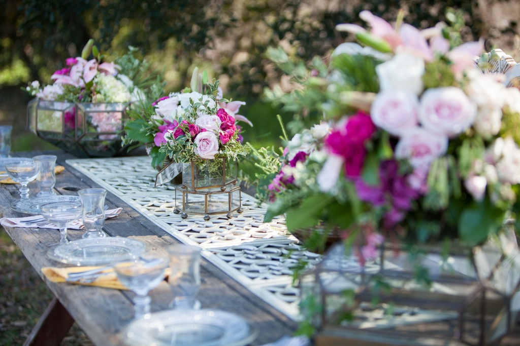 Outdoor-wedding-table-with-pink-green-centerpieces.full