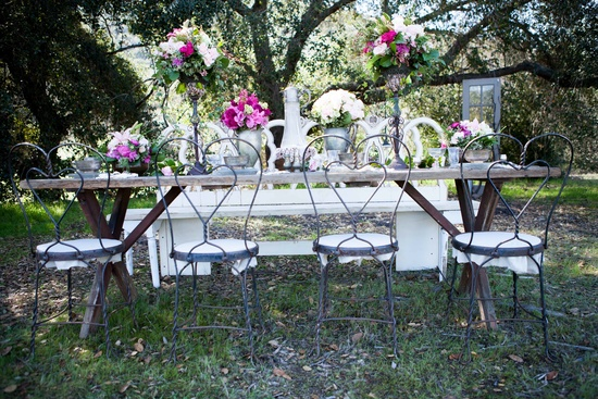 Rustic romance outdoor wedding shoot heart inspired chairs