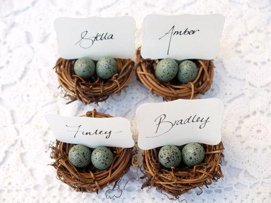 photo of Robins egg nest wedding escort card holders