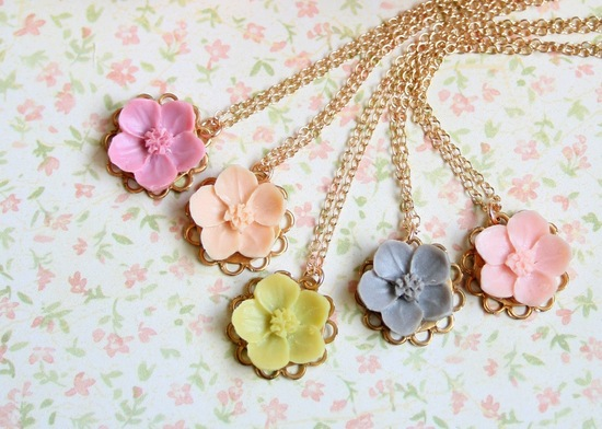 Cherry blossom bridesmaid necklaces