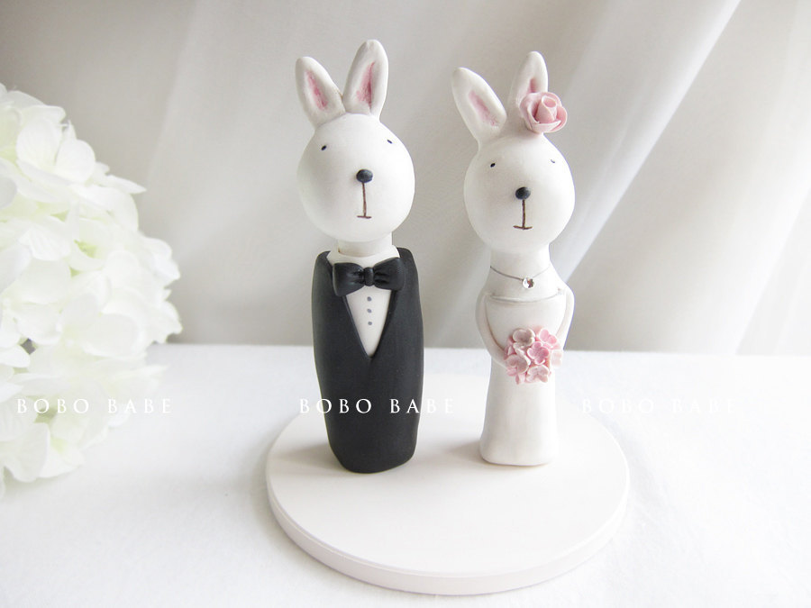 Unique wedding cake toppers bunny bride and groom