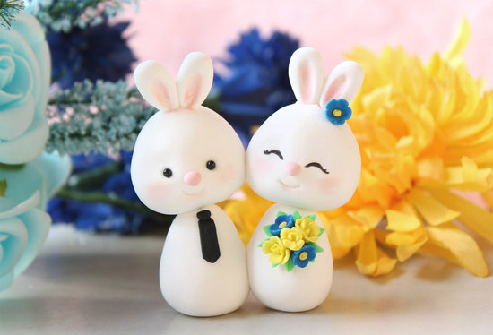 Cute bunny wedding cake topper