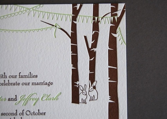 Rustic letterpress wedding invitations trees and bunnies