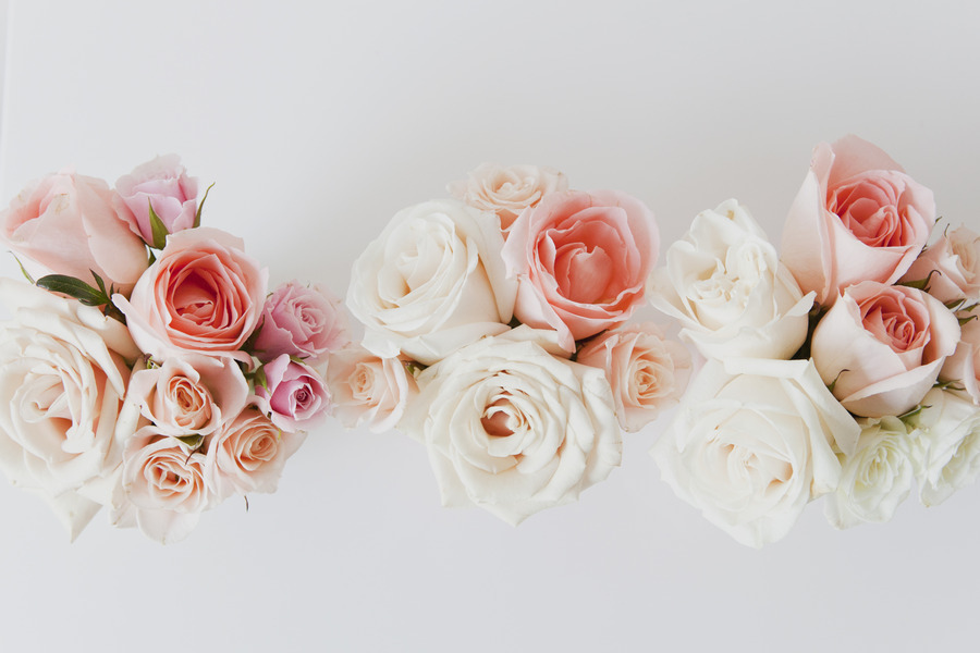 Coral and ivory bridal bouquets
