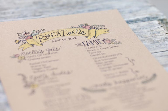 Easter wedding inspiration rustic romance ceremony program
