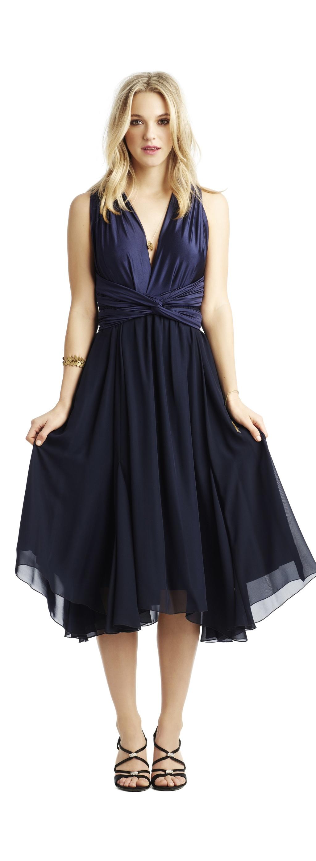 navy blue chiffon wrap bridesmaid dress onewedcom