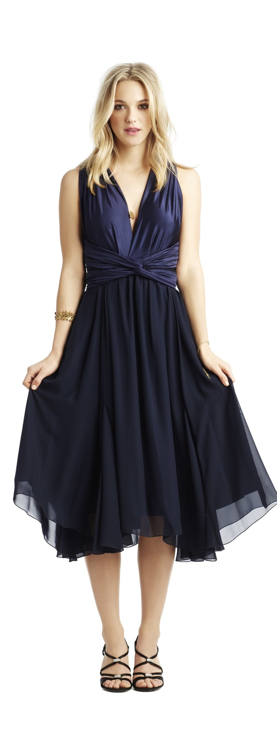 Navy blue chiffon wrap bridesmaid dress