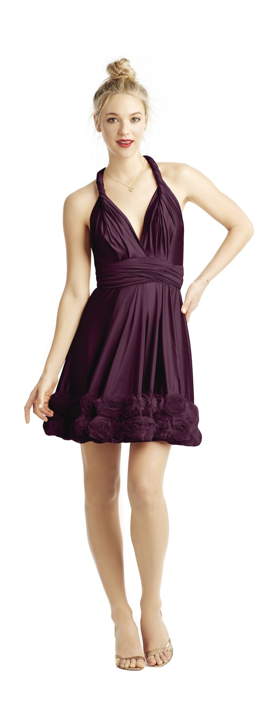 Wine hued bridesmaid dress