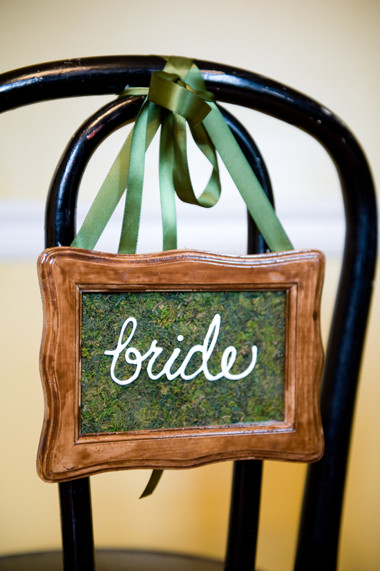 Rustic wedding sign for brides chair