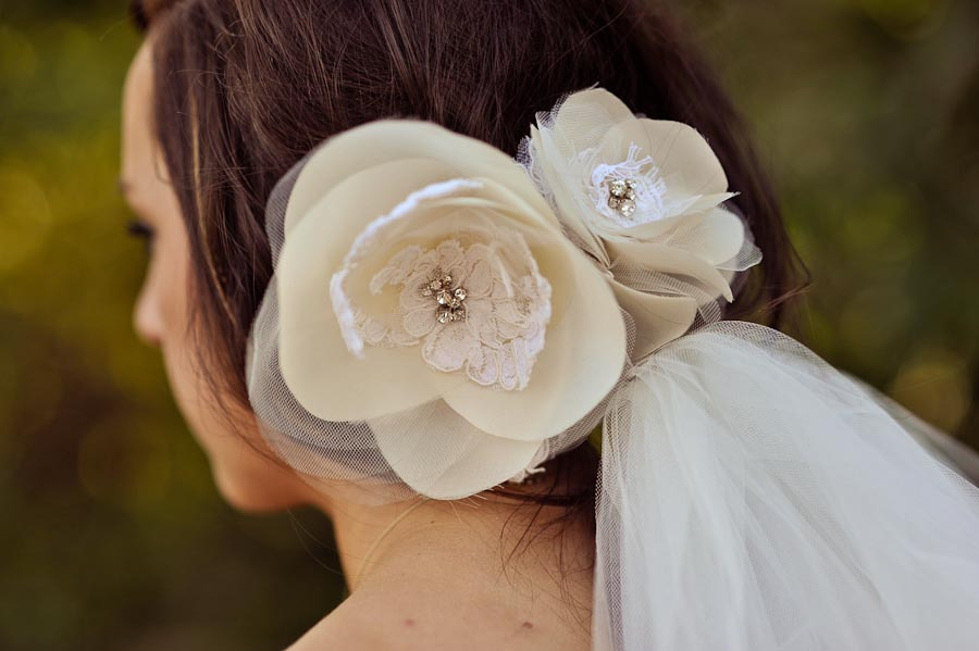 Lace and silk bridal hair flowers with attached veil