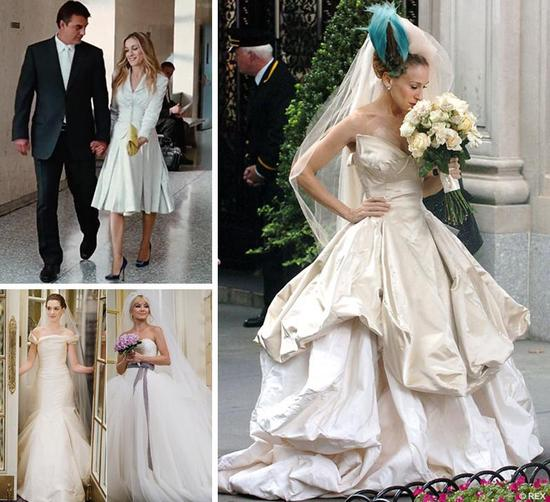 Sarah Jessica Parker in Sex and the City and Anne Hathaway and Kate Hudson in Bride Wars